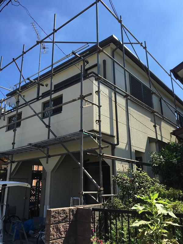 栃木県宇都宮市 外壁塗装 付帯部塗装 近隣の方へのご挨拶 足場設置~養生