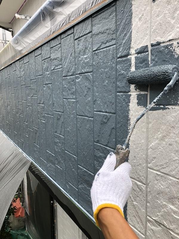 栃木県小山市 外壁塗装 中塗り 関西ペイント アレスダイナミックトップ (2)